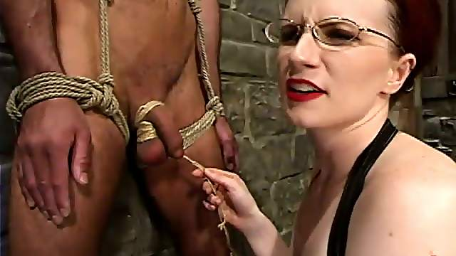 Redhead Claire Adams Torturing a Tied Up Dude's Cock in Femdom BDSM Vid
