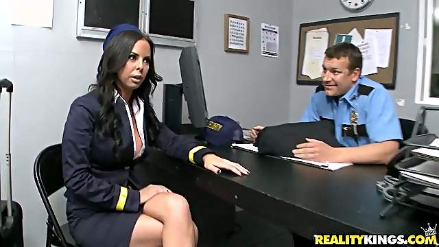Lusty and sexy stewardess is riding the custom officer's cock