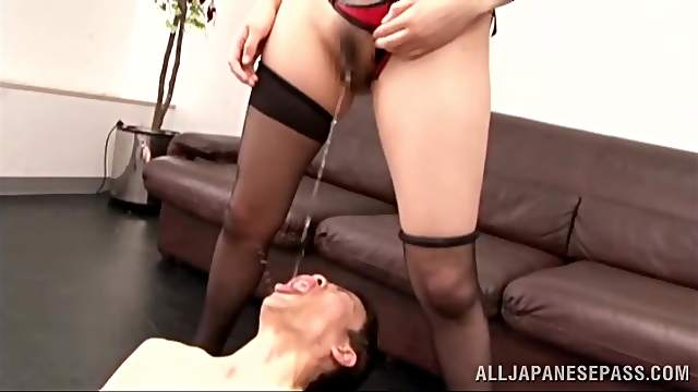 Dominant Japanese in Foxy Lingerie Face Sitting and Pissing a Dude