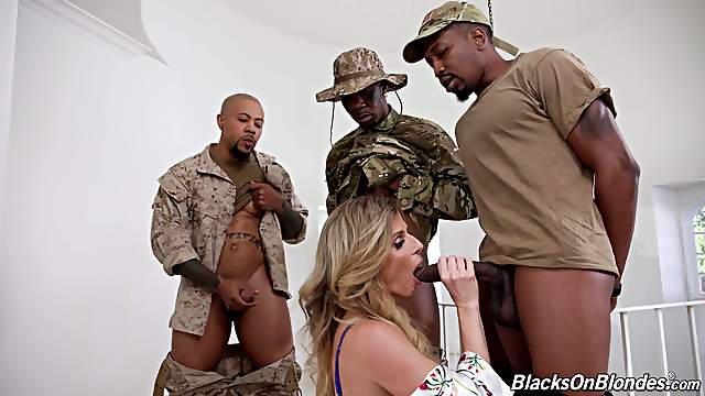 Full gangbang in the army for a premium MILF with insane skills