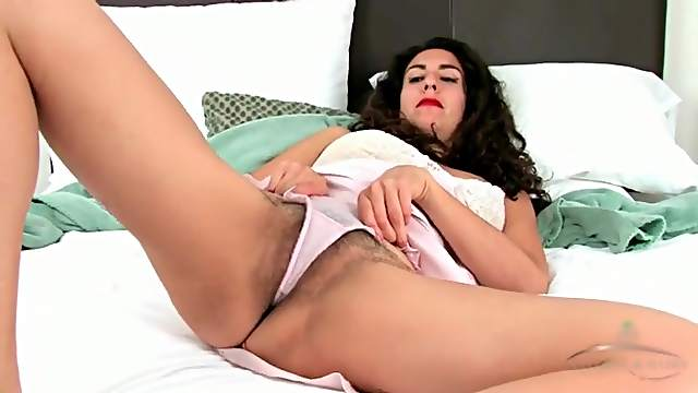 Soft satin is sexy on hairy milf chick