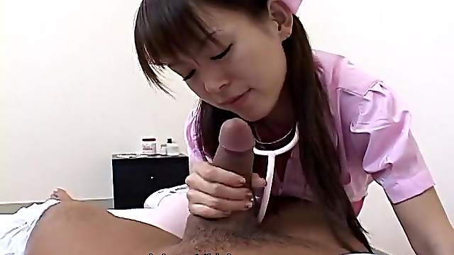 Patient gets a sexy handjob from the cute nurse