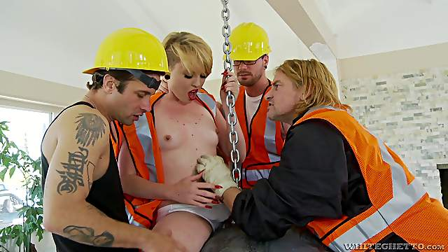 Hung, horny construction workers treat Miley May to gangbang action