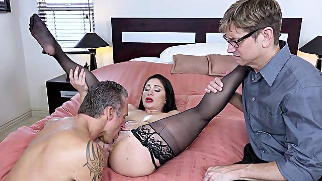 Wife gets the dick in front of her hubby, hardcore way