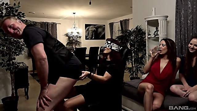 Horny wives are having fun with a stripper when home alone