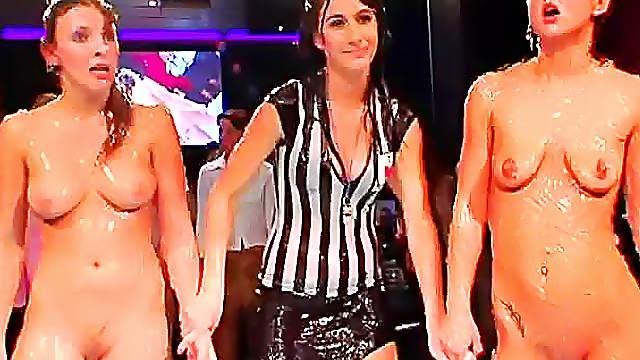 Sexy bikini women strip and wrestle