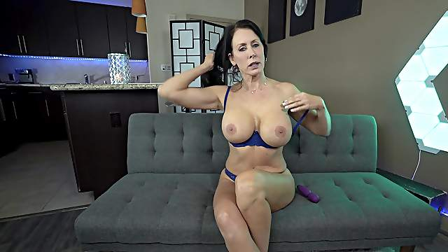 Mature with huge tits, intense solo masturbation on the couch
