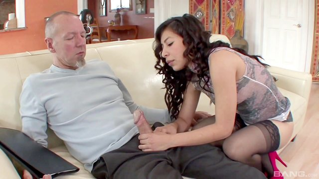 Old guy enjoys more than just a simple blowjob
