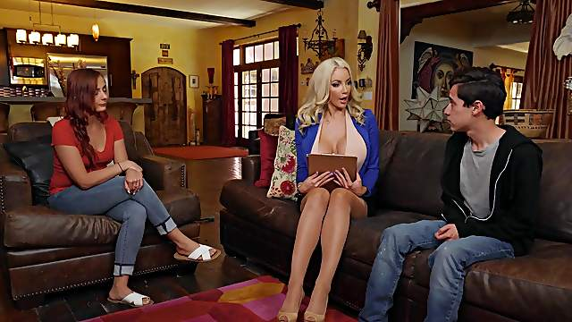 Nicolette Shea helps out a young virgin with his sexual needs