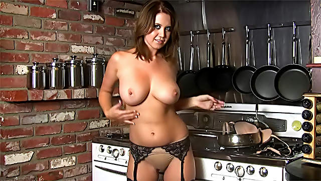 Hot busty brunette Chrissy Marie in the kitchen