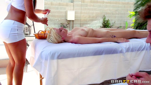 Outdoor massage leads to passionate fucking on the table - Richelle Ryan