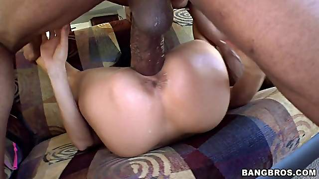 Sexy brunette shows off her ass before riding a monster cock