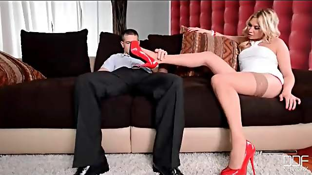 High heels and stockings tease from hot blonde