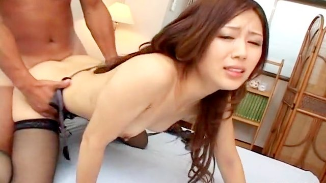 Fucked Japanese girl in stockings takes a facial