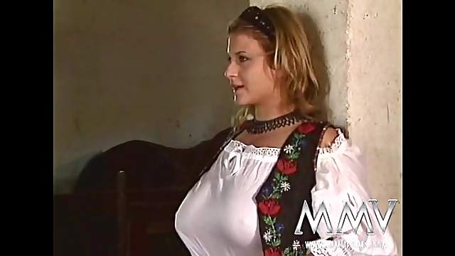 German beauty in the stables is eager to suck dick