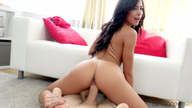 Sweet brunette lands strong inches up her fine cunt in a flawless POV