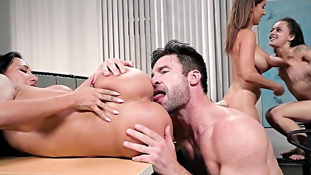 Insane cock sharing group play with three amazing bitches