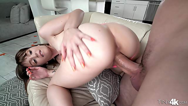 Nala Nova primes her pussy with a raw corncob before getting real cock