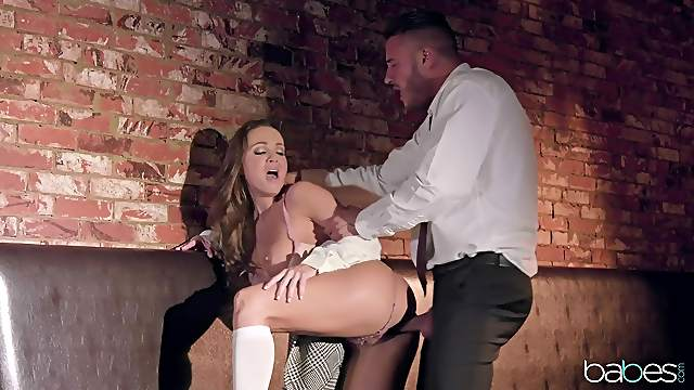 Cum in mouth ending for clothed Abigail Mac with natural tits