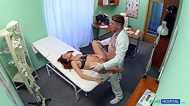 Doctor drills younger patient and cums on her tits