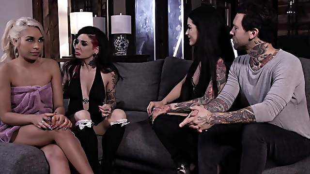 Tattooed whores enjoying dick and sperm in a wild fantasy foursome