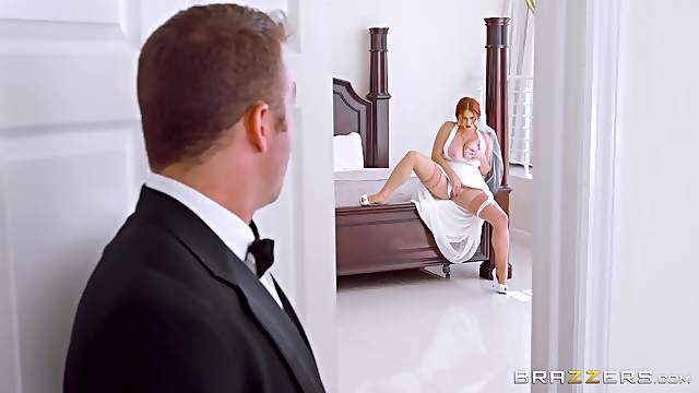 Amazing how the bride sucks the best man's cock on her wedding day