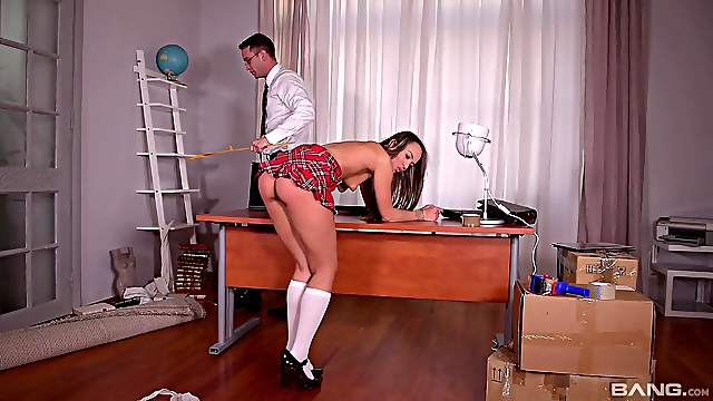 Teacher uses corporal punishment with sexy schoolgirl Blue Angel