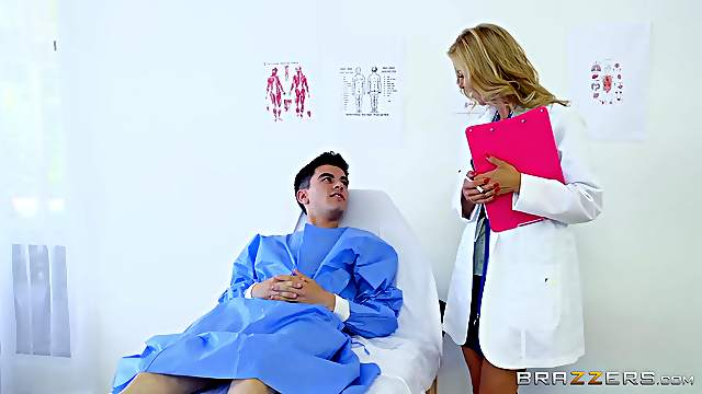 Mature doctor gets this young boy to fuck her like never before