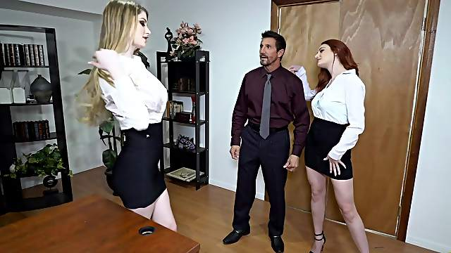 First time these bitches share cock at the office
