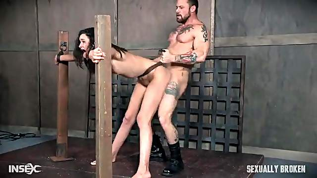 Slave girl deepthroats dicks and gets fucked in bondage